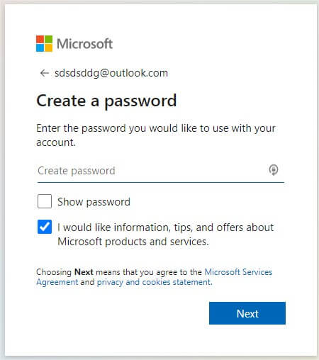 create password, password for microsoft account, password for outlook account
